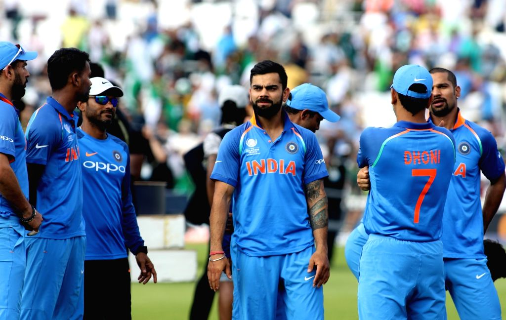 London : Indian captain Virat Kohli after losing the ICC Champions Trophy Final match against Pakistan at Kennington Oval in London on June 18, 2017. (Photo: Surjeet Yadav/IANS) - Virat Kohli and Surjeet Yadav