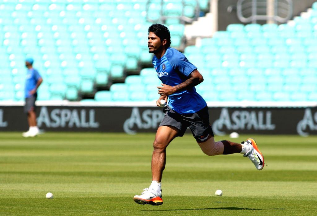London: Indian cricketer Umesh Yadav during a practice session at the Oval in London on June 17, 2017. - Umesh Yadav