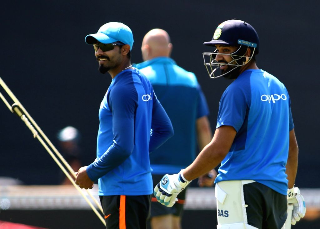 London: Indian cricketers Rohit Sharma and Ravindra Jadeja during a practice session at the Oval in London on June 17, 2017. (Photo: Surjeet Yadav/IANS) - Rohit Sharma, Ravindra Jadeja and Surjeet Yadav