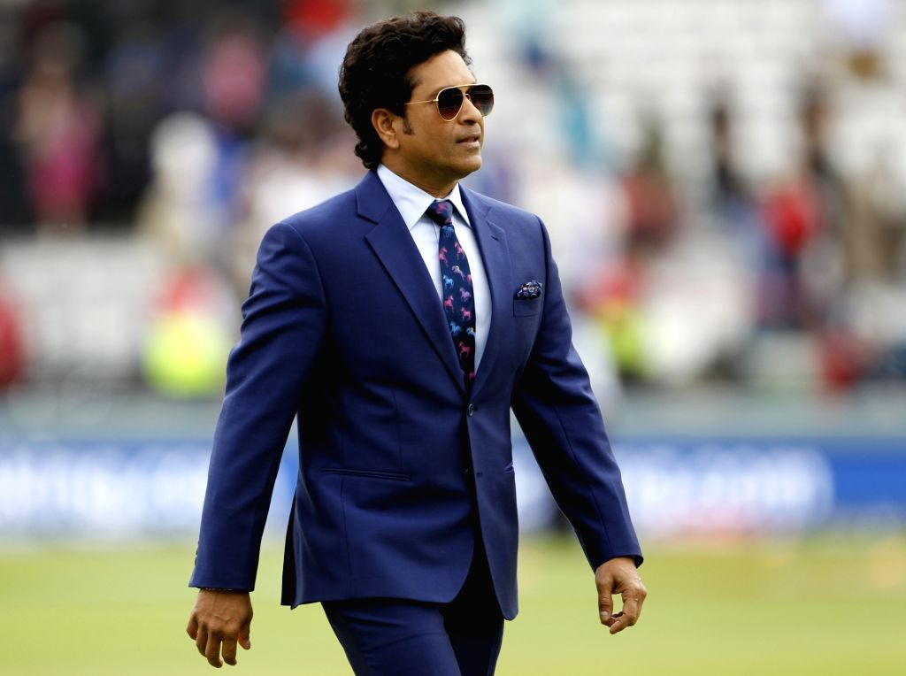London: Indian legendary cricketer Sachin Tendulkar during the final match of the 2019 World Cup between New Zealand and England at the Lord's Cricket Stadium in London, England on July 14, 2019. (Photo: Surjeet Yadav/IANS) - Sachin Tendulkar and Surjeet Yadav