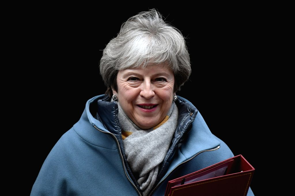 LONDON, Jan. 21, 2019 - British Prime Minister Theresa May leaves 10 Downing street for the House of Commons, in London, Britain, Jan. 21, 2019. May said on Monday that she would not back a no-deal ... - Theresa May