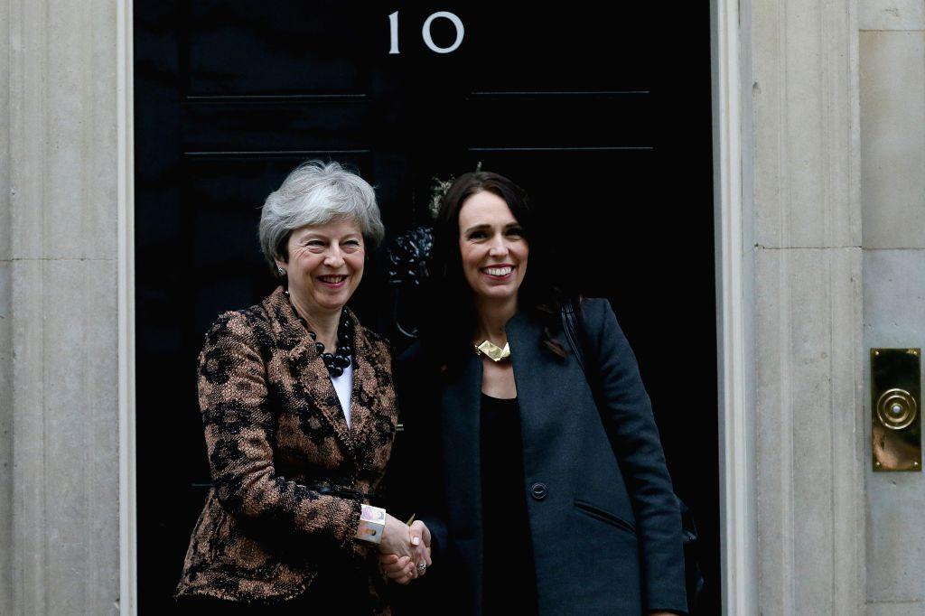 LONDON, Jan. 21, 2019 - British Prime Minister Theresa May (L) meets with New Zealand Prime Minister Jacinda Ardern at 10 Downing street, in London, Britain, Jan. 21, 2019. - Theresa May