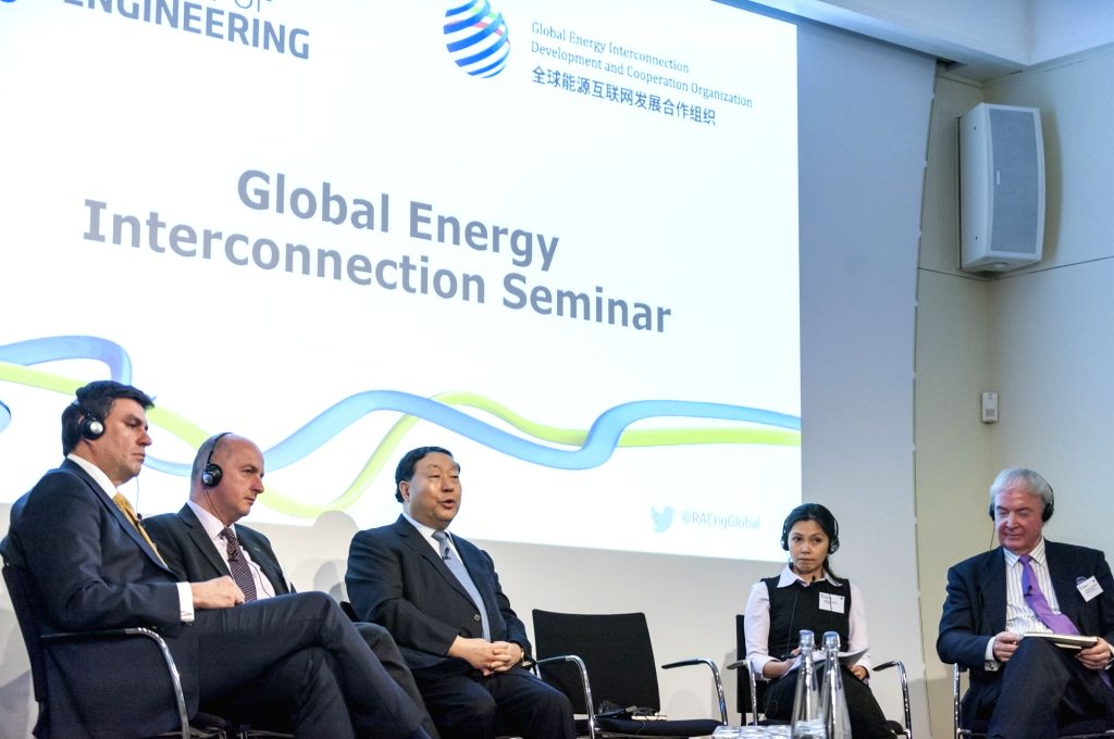 LONDON, Jan. 25, 2018 - A panel discussion is held prior to a signing ceremony between Global Energy Interconnection Development and Cooperation Organization (GEIDCO) and Britain's Royal Academy of ...
