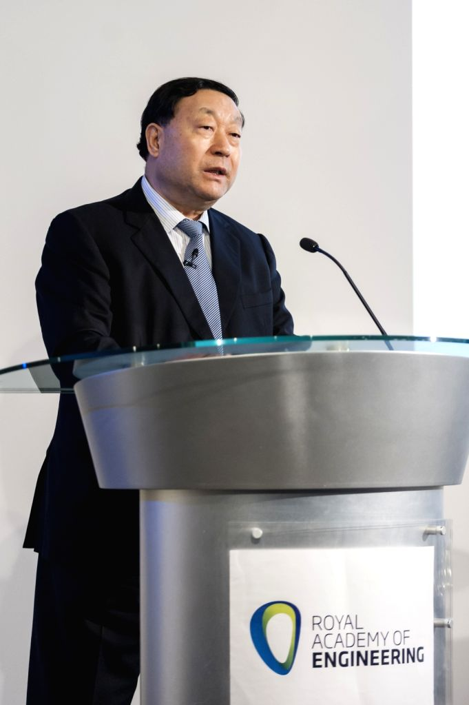 LONDON, Jan. 25, 2018 - Liu Zhenya, Chairman of Global Energy Interconnection Development and Cooperation Organization (GEIDCO), speaks prior to a signing ceremony between GEIDCO and Britain's Royal ...