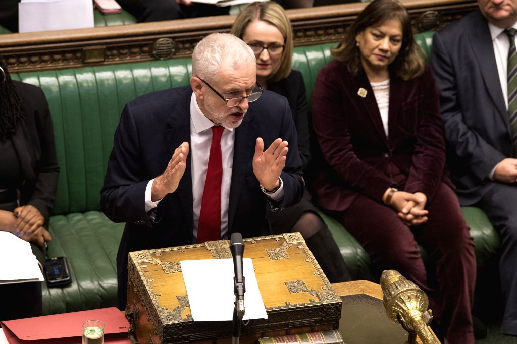 LONDON, Jan. 31, 2019 - British Labor leader Jeremy Corbyn attends the Prime Minister's Questions in the House of Commons in London, Britain, Jan. 30, 2019. Multiple options for Brexit still remain a ...