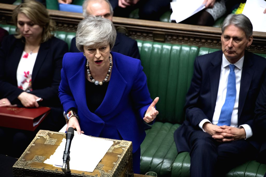 LONDON, Jan. 31, 2019 - British Prime Minister Theresa May attends the Prime Minister's Questions in the House of Commons in London, Britain, Jan. 30, 2019. Multiple options for Brexit still remain a ... - Theresa May