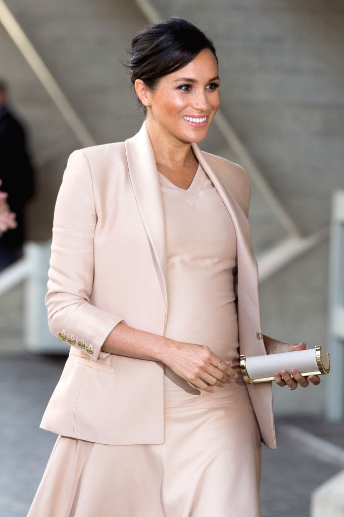 LONDON, Jan. 31, 2019 - Meghan, Duchess of Sussex, arrives to visit the National Theatre after being appointed as its Patron in London, Britain on Jan. 30, 2019.