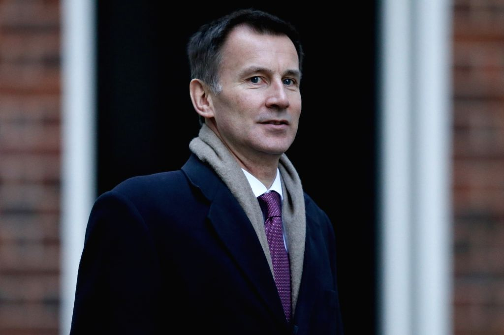 LONDON, Jan. 9, 2019 (Xinhua) -- British Foreign Secretary Jeremy Hunt arrives for a cabinet meeting at 10 Downing Street in London, Britain on Jan. 8. 2019. British government confirmed Tuesday that a delayed parliamentary vote on the Brexit deal wi