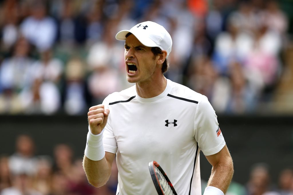 LONDON, July 1, 2016 - Andy Murray of Britain celebrates scoring during the men's singles second round match against Lu Yen-Hsun of Chinese Taipei at the Wimbledon Tennis Championships in London, ...