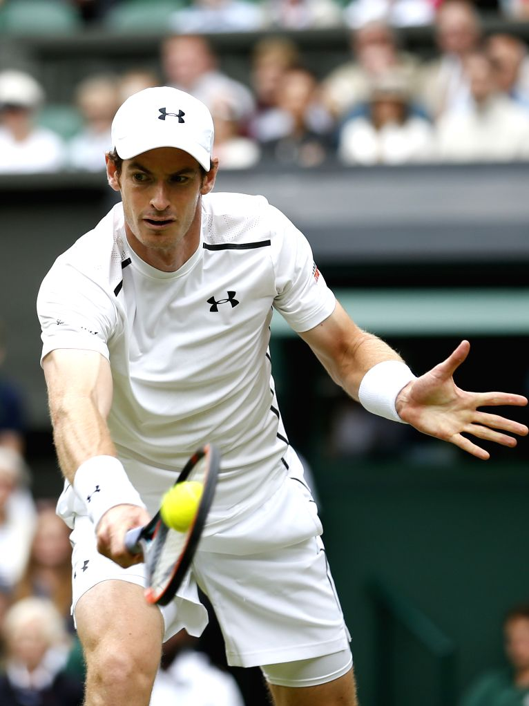 LONDON, July 1, 2016 - Andy Murray of Britain hits a return to Lu Yen-Hsun of Chinese Taipei during the men's singles second round match at the Wimbledon Tennis Championships in London, Britain on ...
