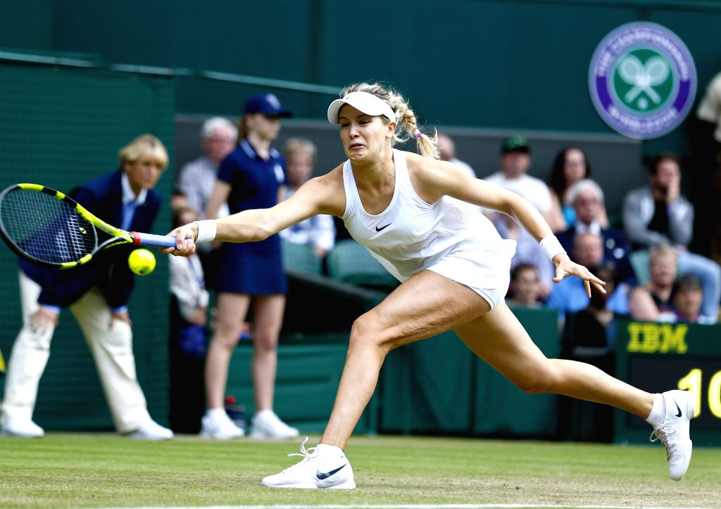 LONDON, July 1, 2016 - Eugenie Bouchard of Canada hits a return to Johanna Konta of Britain during the women's singles second round match at the Wimbledon Tennis Championships in London, Britain on ...