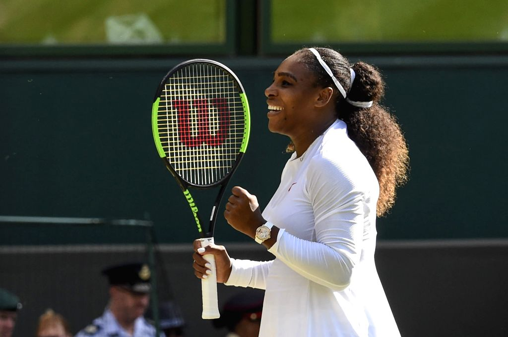 LONDON, July 11, 2018 - Serena Williams of the United States celebrates after the women's singles quarterfinal match against Camila Giorgi of Italy at the Wimbledon Championships 2018 in London, ...