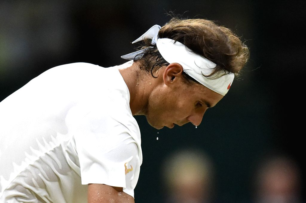 LONDON, July 14, 2018 - Rafael Nadal of Spain competes during the men's singles semifinal match against Novak Djokovic of Serbia at the Wimbledon Championships 2018 in London, Britain, on July 13, ...