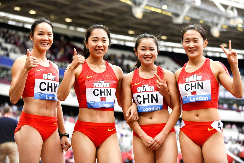 LONDON, July 21, 2019 - (from L to R) Wei Yongli, Ge Manqi, Liang Xiaojing and Kong Lingwei of China pose after the women's 4x100m relay final at Muller Anniversary Games at London Stadium in London, ...