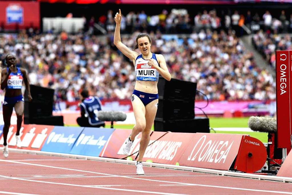 LONDON, July 21, 2019 - Laura Muir of Great Britain competes during the women's 1500m final at Muller Anniversary Games at London Stadium in London, Britain, on July 20, 2019. Muir won the gold medal ...