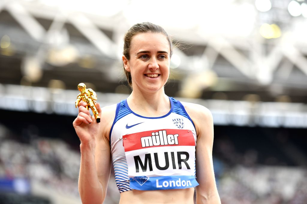 LONDON, July 21, 2019 - Laura Muir of Great Britain celebrates after the women's 1500m final at Muller Anniversary Games at London Stadium in London, Britain, on July 20, 2019. Muir won the gold ...