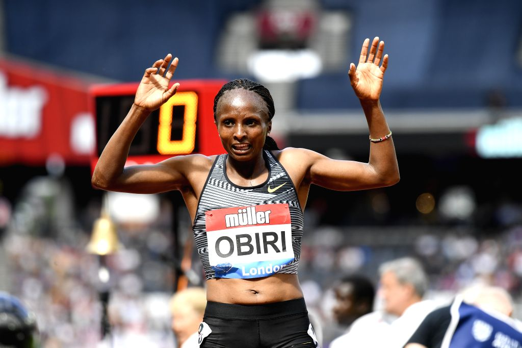 LONDON, July 22, 2019 - Hellen Obiri of Kenya celebrates after the women's 5000m final during Muller Anniversary Games at London Stadium in London, Britain, on July 21, 2019.