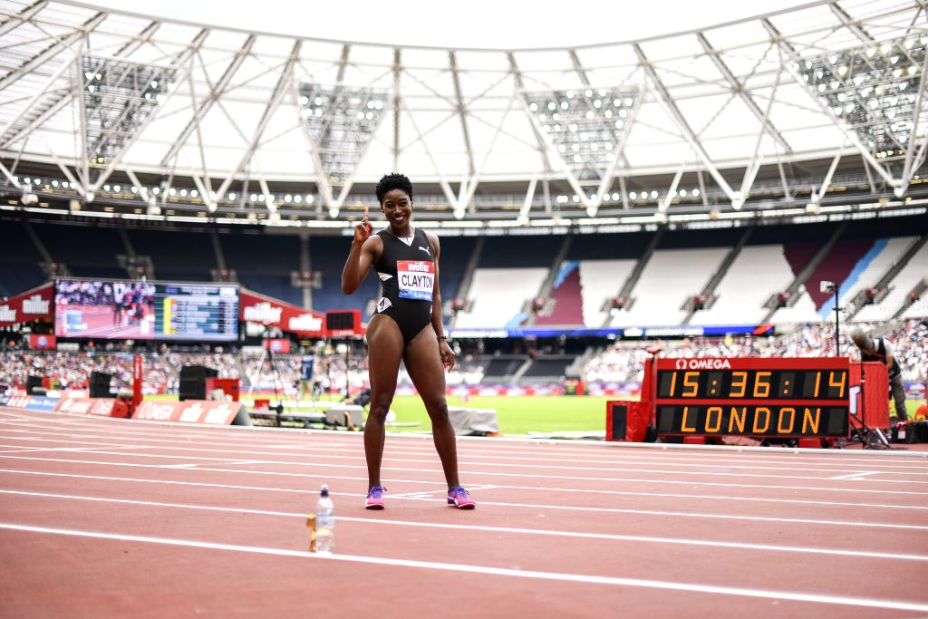 LONDON, July 22, 2019 - Rushell Clayton of Jamaica reacts after the women's 400m Hurdles Final during Muller Anniversary Games at London Stadium in London, Britain, on July 21, 2019.