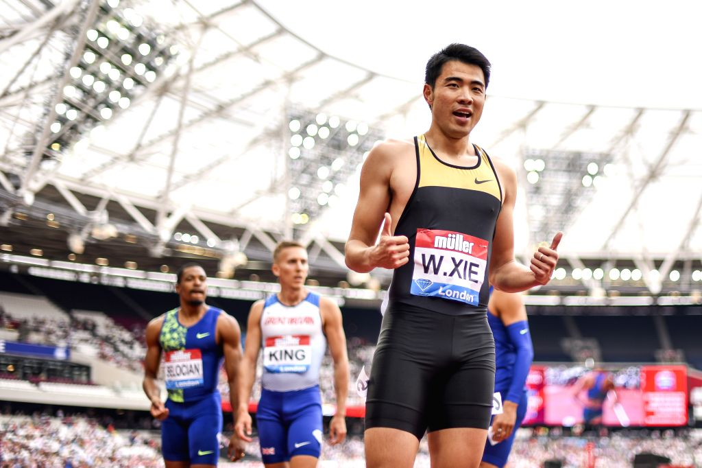 LONDON, July 22, 2019 - Xie Wenjun of China celebrates after the men's 110m hurdles final at Muller Anniversary Games at London Stadium in London, Britain, on July 21, 2019.