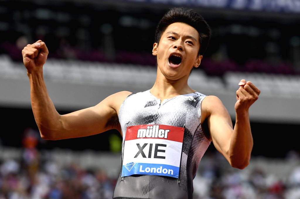LONDON, July 22, 2019 - Xie Zhenye of China celebrates after the men's 200m final at Muller Anniversary Games at London Stadium in London, Britain, on July 21, 2019.
