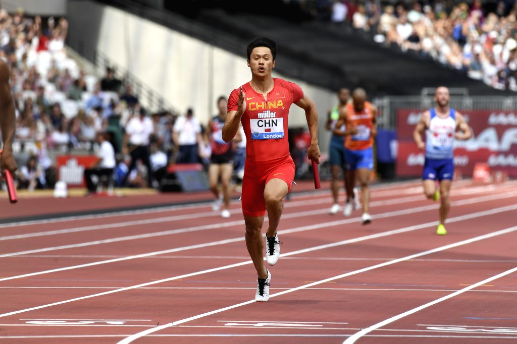 LONDON, July 22, 2019 - Xie Zhenye of China competes in the men's 4x100m relay final during Muller Anniversary Games at London Stadium in London, Britain, on July 21, 2019.