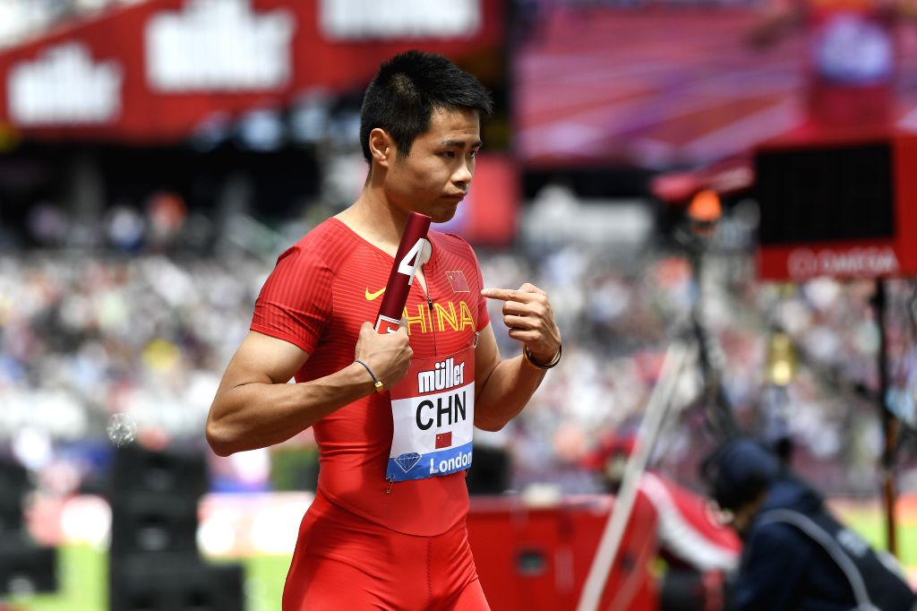 LONDON, July 22, 2019 - Xu Haiyang of China is seen ahead of the men's 4x100m relay final during Muller Anniversary Games at London Stadium in London, Britain, on July 21, 2019.