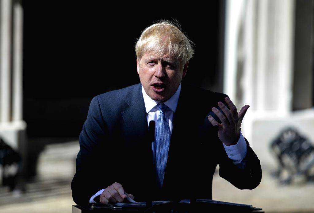 LONDON, July 24, 2019 (Xinhua) -- Newly elected Conservative Party leader and British Prime Minister Boris Johnson speaks at 10 Downing Street in London, Britain, July 24, 2019. Newly-elected Conservative Party leader Boris Johnson took office as the - Boris Johnson