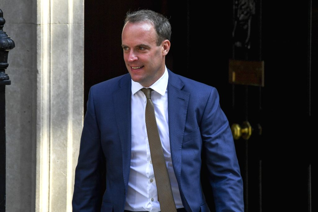 LONDON, July 25, 2019 - Britain's Foreign Secretary Dominic Raab leaves 10 Downing Street after attending a cabinet meeting in London, Britain, on July 25, 2019.