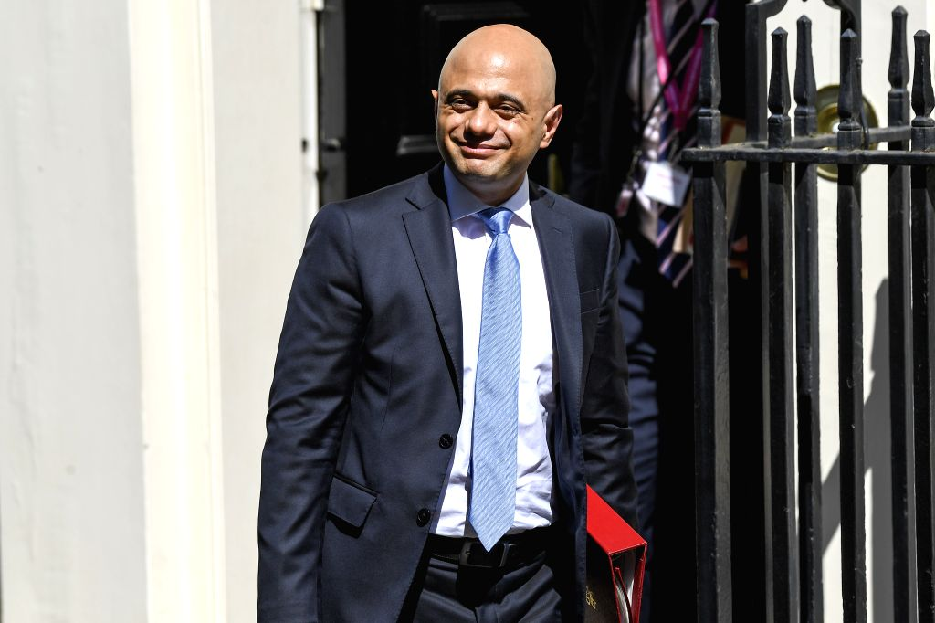 LONDON, July 25, 2019 (Xinhua) -- Britain's Chancellor of the Exchequer Sajid Javid leaves 10 Downing Street after attending a cabinet meeting in London, Britain, on July 25, 2019. (Photo by Alberto Pezzali/Xinhua/IANS)