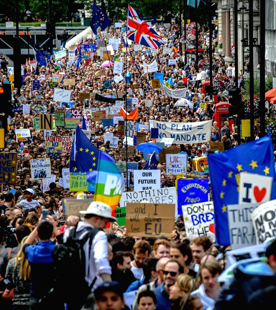 LONDON, July 3, 2016 - People take part in a march against the outcome of the recent EU referendum, in London, Britain, July 2, 2016. Around 40,000 people attended the anti-Brexit march after a ...