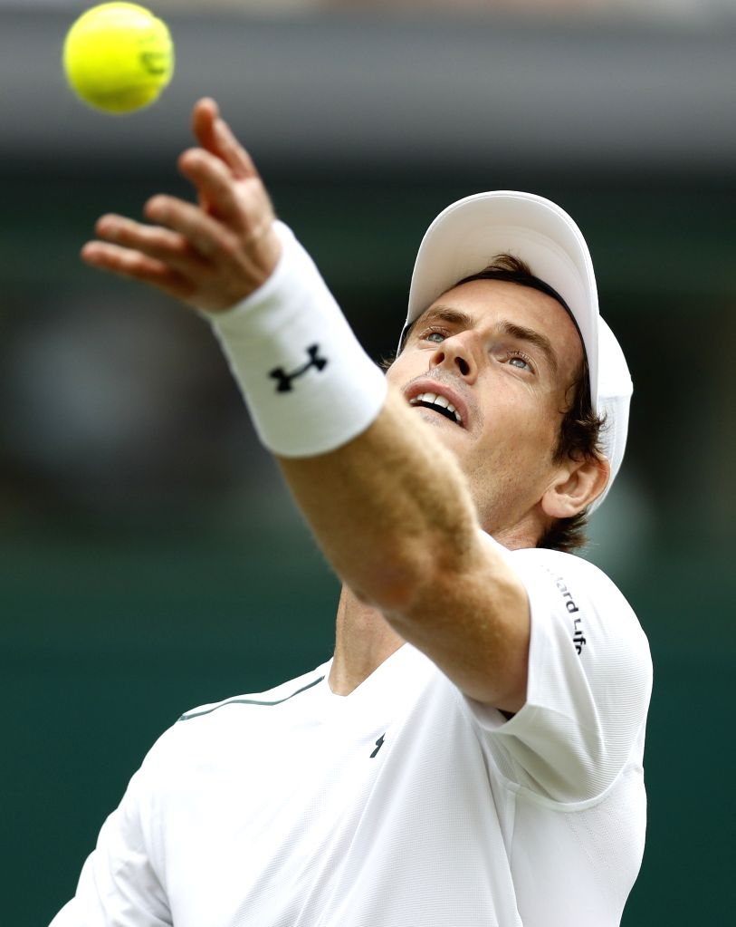 LONDON, July 3, 2017 - Andy Murray of Great Britain competes during the men's singles first round match with Alexander Bublik of Kazakhstan during Day 1 of the Championship Wimbledon 2017 at ...