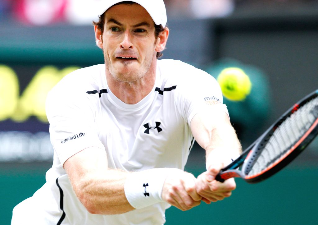 LONDON, July 4, 2016 - Andy Murray of Britain hits a return to Nick Kyrgios of Australia during their men's singles fourth round match at the Wimbledon Tennis Championships in London, Britain on July ...