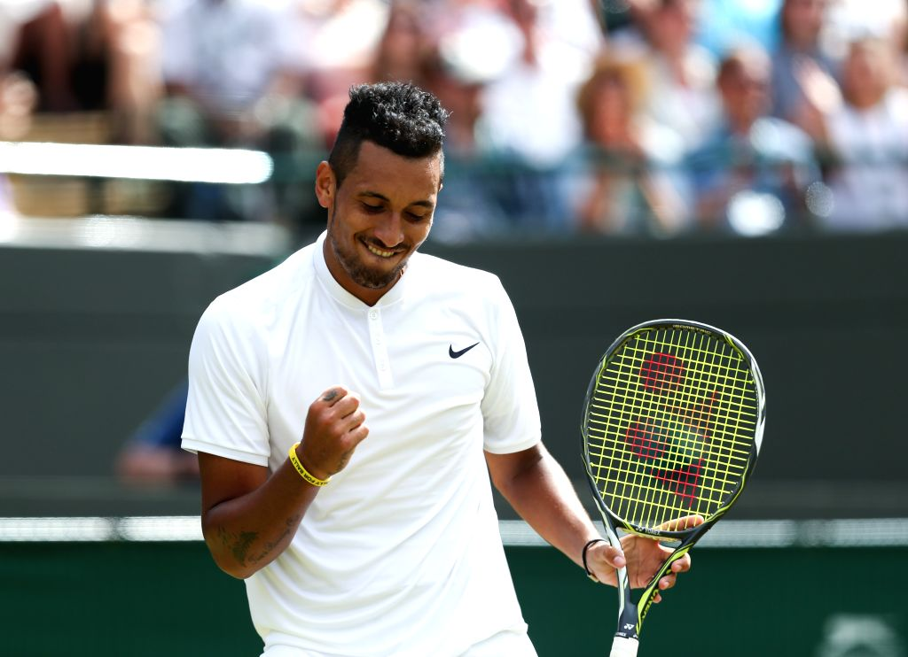 LONDON, July 4, 2016 - Nick Kyrgios of Australia celebrates after the men's singles third round match with Feliciano Lopez of Spain on Middle Sunday at The 2016 Wimbledon Championships in London, ...