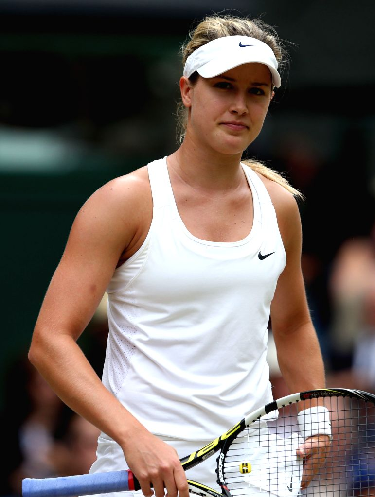 Canada's Eugenie Bouchard reacts during the women's singles final match against Czech Republic's Petra Kvitova at the 2014 Wimbledon Championships in Wimbledon, ...