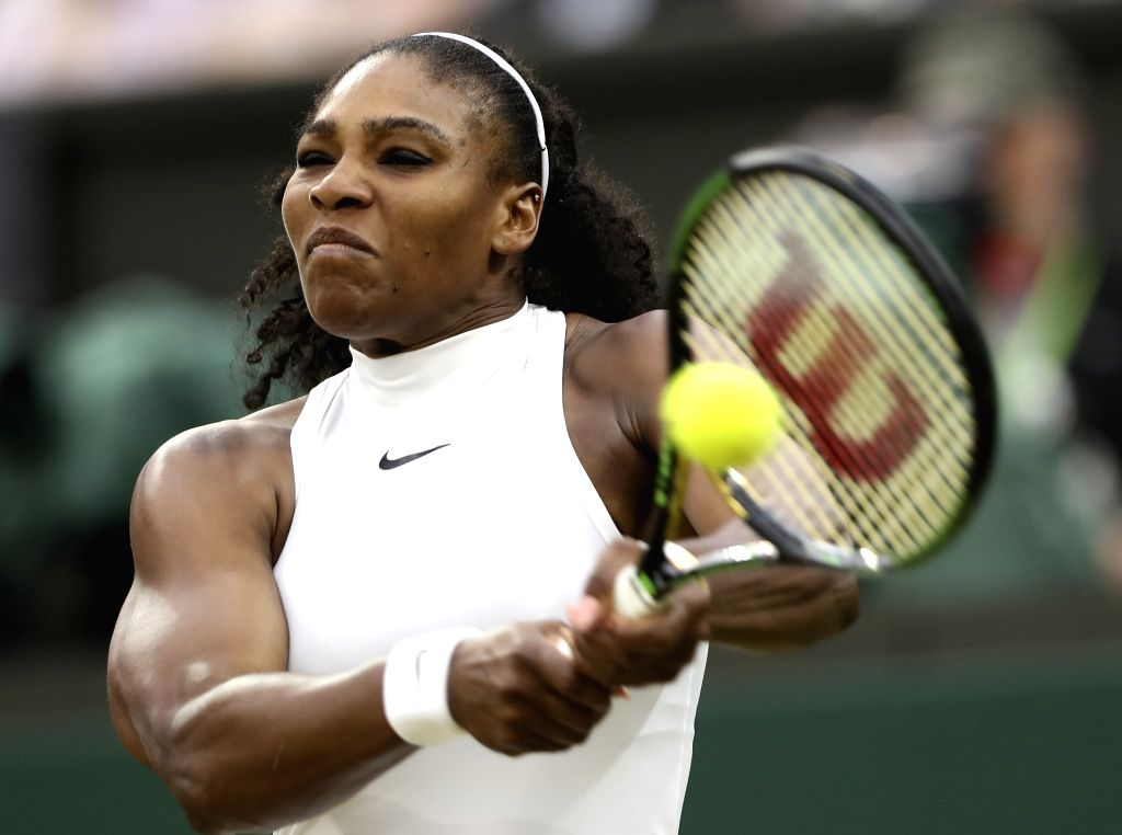 LONDON, July 5, 2016 - Serena Williams of the United States hits a return to Svetlana Kuznetsova of Russia during their women's singles fourth round match at the Wimbledon Tennis Championships in ...