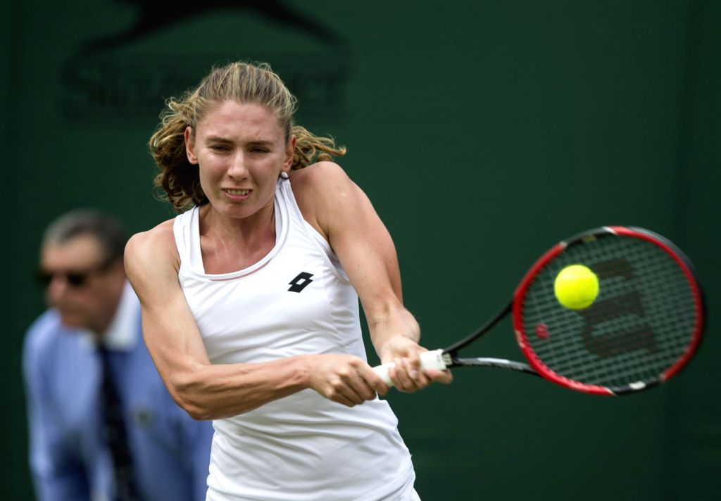 LONDON, July 5, 2017 - Ekaterina Alexandrova of Russia hits a return during the women's singles first round match against Garbine Muguruza of Spain at the Championship Wimbledon 2017 in London, ...