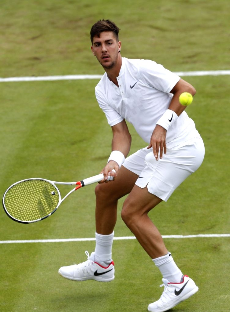 LONDON, July 5, 2017 - Thanasi Kokkinakis of Australia hits a return during the men's singles first round match against Juan Martin Del Potro of Argentina at the Championship Wimbledon 2017 in ...