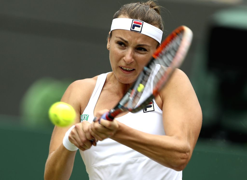 LONDON, July 6, 2016 - Yaroslava Shvedova of Kazakhstan competes during the women's singles quarterfinal against Venus Williams of the United States on Day 8 at The Championships Wimbledon 2016 in ...