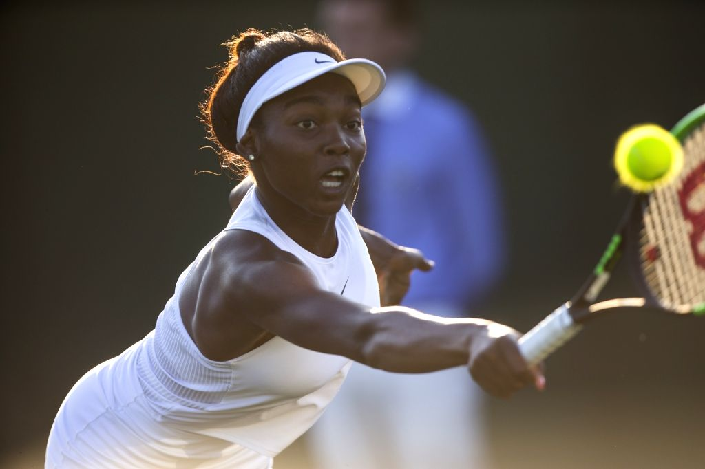 LONDON, July 6, 2017 - Francoise Abanda of Canada hits a return during the women's singles second round match against Jelena Ostapenko of Latvia at the Championship Wimbledon 2017 in London, Britain, ...