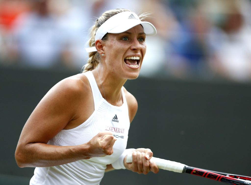 LONDON, July 7, 2017 - Angelique Kerber of Germany celebrates after the women's singles second round match against Kirstern Flipkens of Belgium at the Championship Wimbledon 2017 in London, Britain, ...