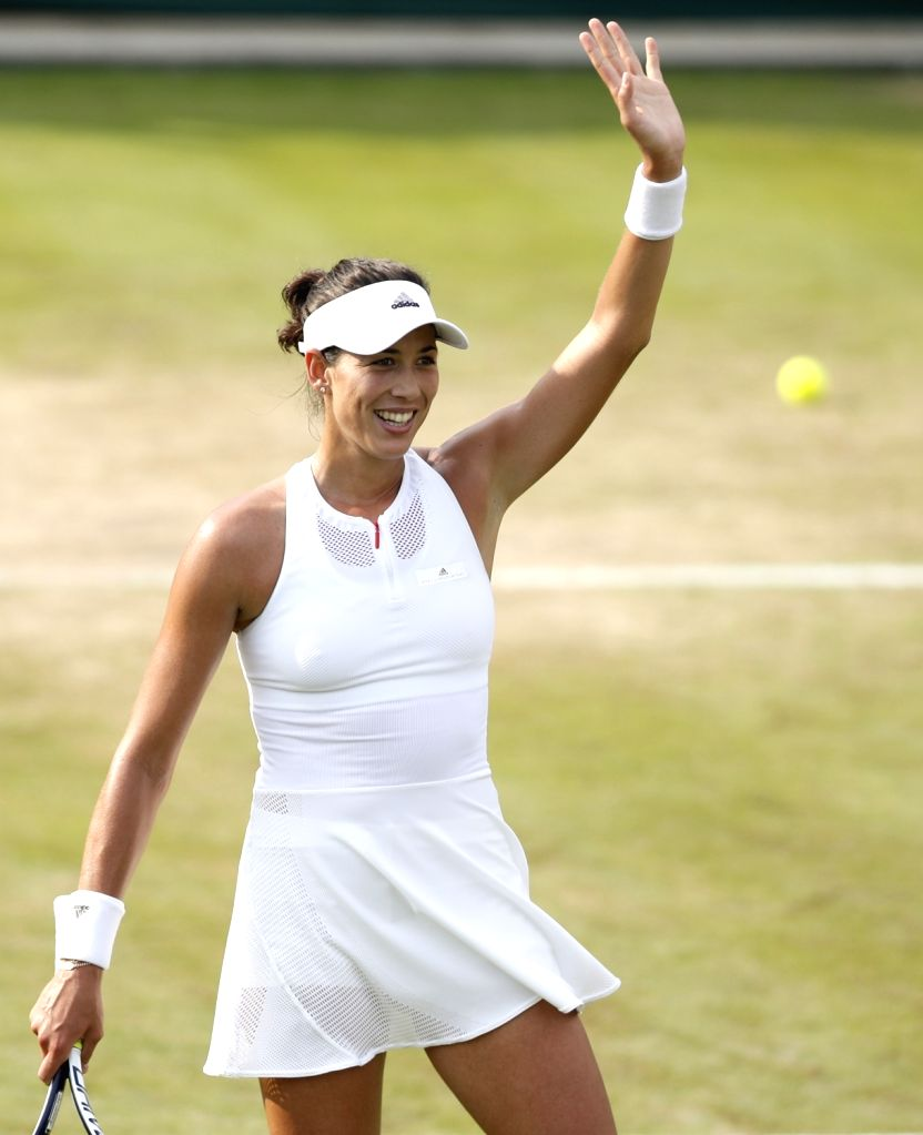 LONDON, July 7, 2017 - Garbine Muguruza of Spain greets the spectators after the women's singles second round match against Yanina Wickmayer of Belgium at the Championship Wimbledon 2017 in London, ...