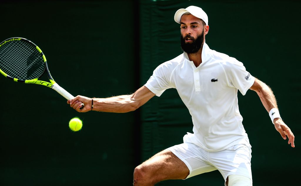 LONDON, July 7, 2018 - Benoit Paire of France returns the ball during the men's singles third round match against Juan Martin Del Potro of Argentina at the Wimbledon Championships 2018 in London, ...