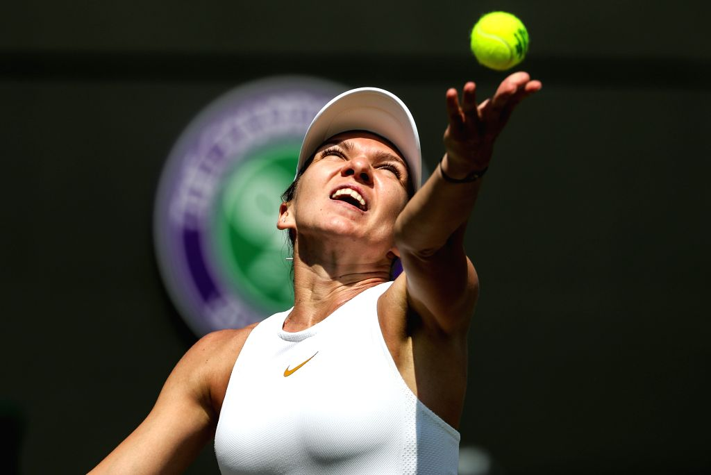 LONDON, July 7, 2018 - Simona Halep of Romania serves during the women's singles third round match against Hsieh Su-Wei of Chinese Taipei at the Wimbledon Championships 2018 in London, Britain, July ...