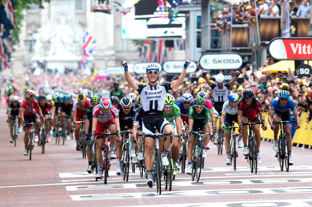 Germany's Marcel Kittel celebrates after winning Stage Three of the Tour de France in London on July 7, 2014.