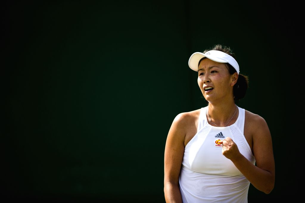 LONDON, July 8, 2017 - Peng Shuai of China celebrates after scoring during the women's singles third round match against Simona Halep of Romania at the Championship Wimbledon 2017 in London, Britain, ...