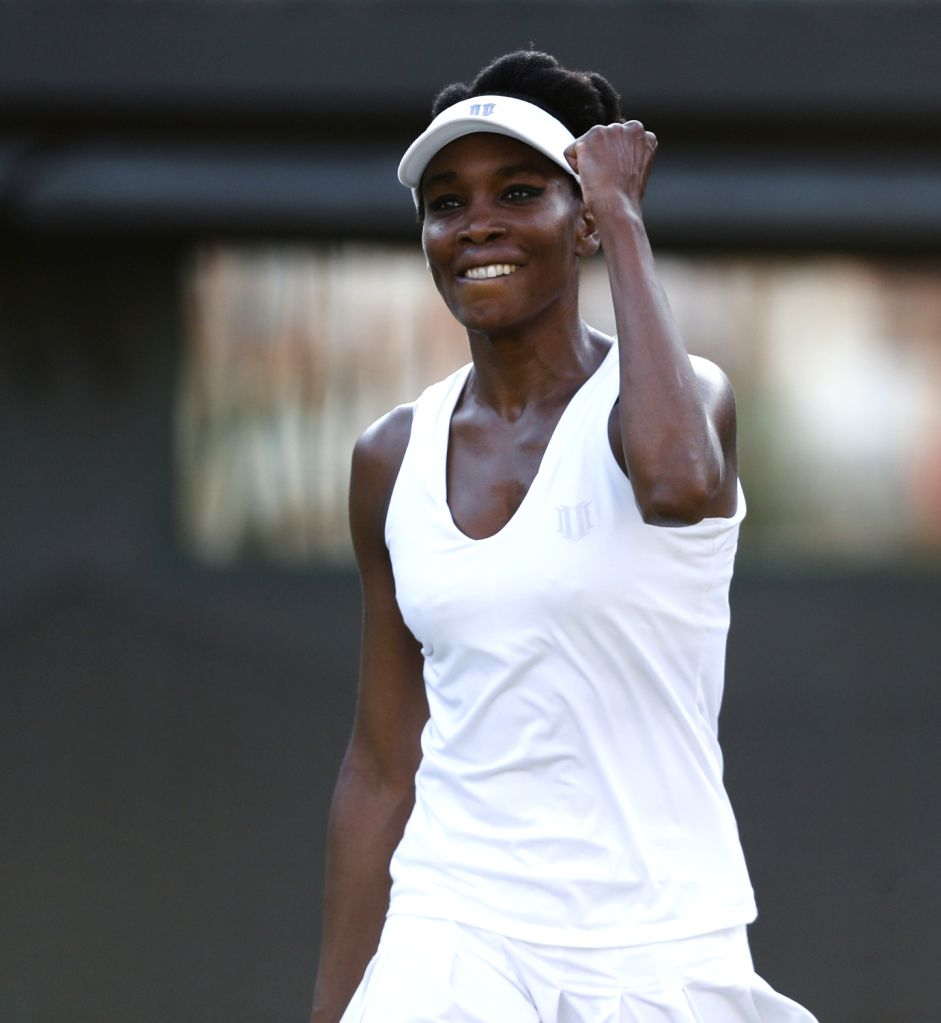 LONDON, July 8, 2017 - Venus Williams of the United States celebrates after the women's singles third round match against Naomi Osaka of Japan at the Championship Wimbledon 2017 in London, Britain, ...