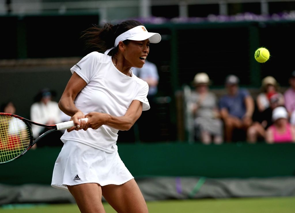LONDON, July 9, 2018 - Hsieh Su-Wei of Chinese Taipei hits a return during the women's singles fourth round match against Dominika Cibulkova of Slovakia at the Wimbledon Championships 2018 in London, ...