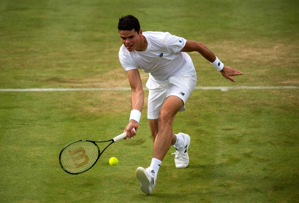 LONDON, June 17, 2016 - Milos Raonic of Canada competes during his men's singles second round match against Jiri Vesely of the Czech Republic on day four of the ATP-500 Aegon Championships at the ...