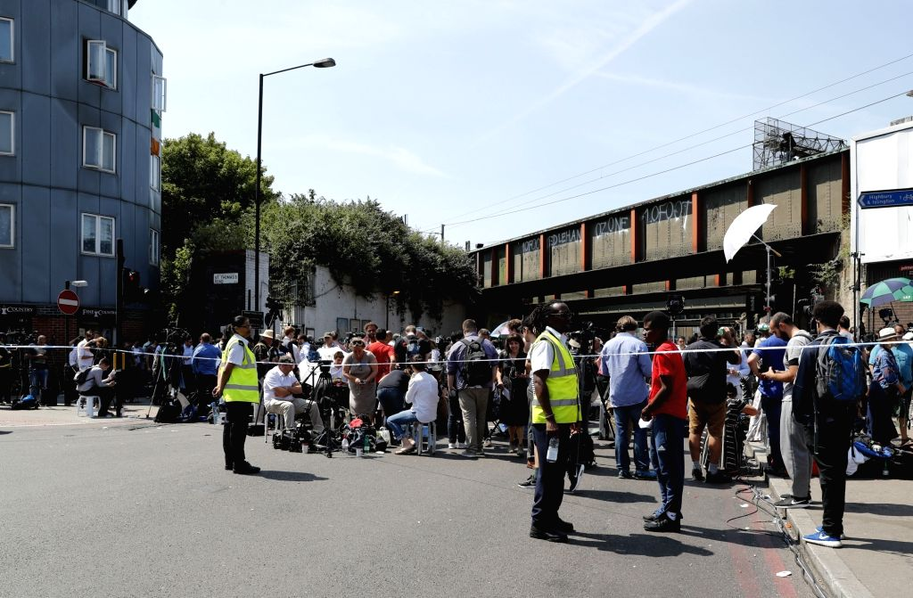 LONDON, June 19, 2017 - Large amount of media gather outside the police cordon where a van ran into worshippers near a north London mosque, Britain, June 19, 2017. At least one was killed and 10 ...