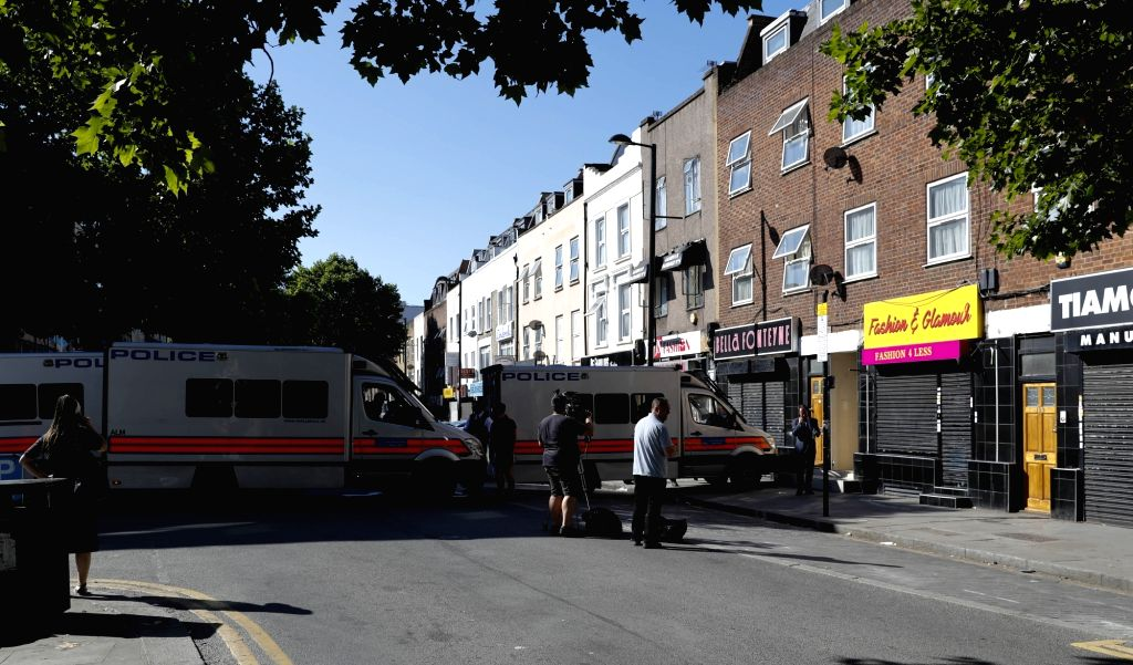 LONDON, June 19, 2017 - Police block the area where a van ran into worshippers near a north London mosque, Britain, June 19, 2017. At least one was killed and 10 others were injured when a van was ...